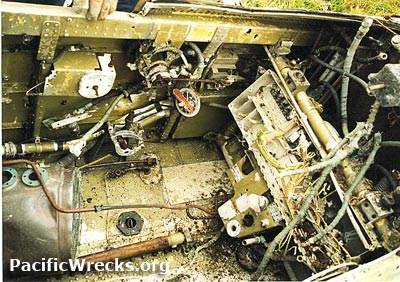 Pacific Wrecks - P-40 Warhawk cockpit prior to salvage
