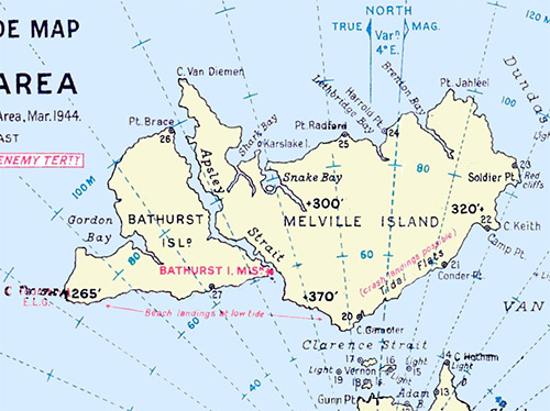 Pacific Wrecks Map of Bathurst Island including Bathurst Island