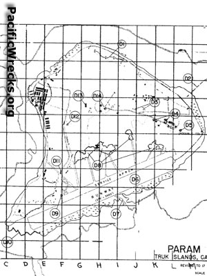 PacificWrecks Target Grid Map Of Param Island And Param Airfield - Us map with grid