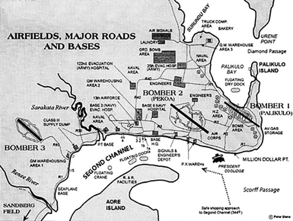 Pacific Wrecks Map of Airfields Major Roads and Bases at